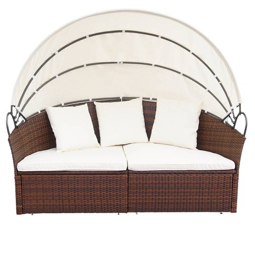 Miadomodo Hochwertige Polyrattan Ø 180 cm Sonneninsel Lounge Liege (Farbwahl) inkl. Kissen, Sitzauflage und Sonnendach (Braun) - 4