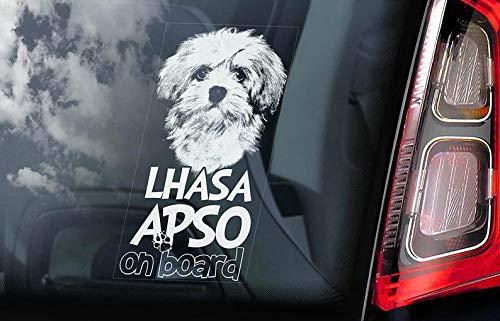 CELYCASY V01 Aufkleber für Autofenster, Motiv: Lhasa Apso on Board -