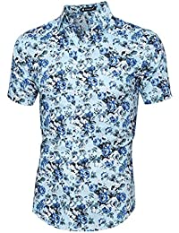 Sourcingmap Allegra K Men Short Sleeves Button Front Floral Print Shirt