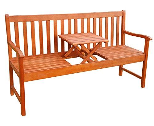 Gartenbank Sitzbank Parkbank Gartenmöbel 3 Sitzer Holz 153 cm mit Tisch geölt 10186 ( M )