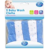 Pack of 5 Soft Baby Wash Cloths Towel Flannel Machine Wash from 0 Months +