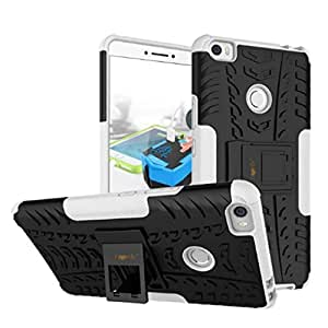 Heartly Xiaomi Mi Max Back Cover Kick Stand Rugged Shockproof Tough Hybrid Armor Dual Layer Bumper Case - Best White