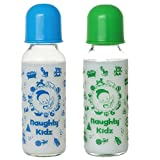 #2: Premium Glass Feeding Bottle with Premium LSR Nipple- BLUE-240ML+GREEN-240ML