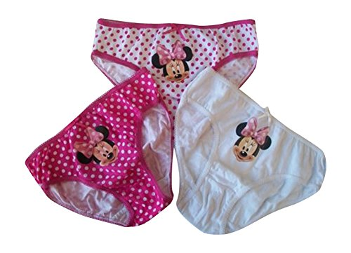 Girls Disney Minnie Mouse 3 pack Gift Box Briefs set 100% Cotton all sizes