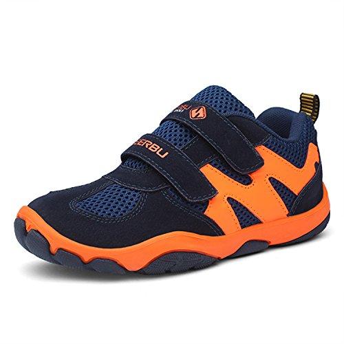 Kinder Schuhe mit Klettverschluss Jungen Trekking Wanderschuhe Mädchen Halbschuhe Turnschuhe Outdoor Sportschuhe Lauf Sneaker Dunkelblau, 28 EU