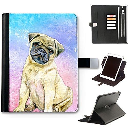 Hairyworm Aquarell Mops Welpe Hund Apple iPad Leder Seite Flip Tasche 360 Wendegehäuse, Folioformat Hülle für Apple iPad - Mops Welpe Hund, Apple iPad 6th Generation 9.7 inch (2018) (Mops Der Passt)
