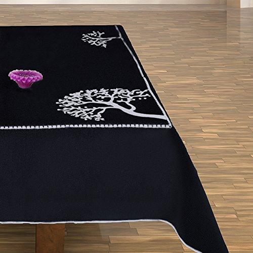 Nero Bianco Tovaglia tavolo panno albero motivo albero modello albero alberi ricamato elegante pratico e di facile manutenzione tela effetto lino con effetto borte Modern 2045, Plastica Microfibra, nero, 40x90