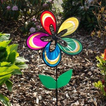 Preisvergleich Produktbild Windspiel - Magic Flower Fantasy - UV-beständig und wetterfest - Windrad: Ø38cm, Höhe: 93cm - inkl. Fiberglasstab und Bodendübel (Fantasy)