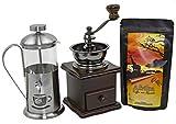 Kaffee Geschenk-Set Afrika 250 g Länderkaffee aus Uganda Ganze Bohnen, Retro-Kaffeemühle und Stempelkanne 350 ml