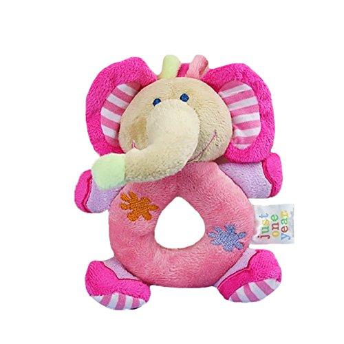 CAIJ Little Elephant Plush Ring Animal rattle dolls baby toys round smooth soft-Elephant