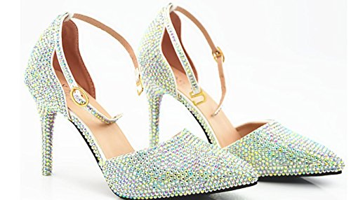 YCMDM Femmes Chaussures De Cristal Diamant incrusté Chaussures De Mariage À La Main Blanc Haute Talons Sandales Pointues Blanc AB Chaussures De Mariée Broche as picture
