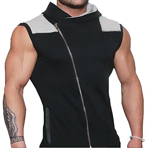 Glestore Herren Top T-Shirt mit Kapuze Sport Elastizität Slim Fit Sommer Einfarbig
