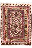 Nain Trading Kelim Afghan 199x151 Orientteppich Teppich Dunkelgrau/Rosa Handgewebt Afghanistan