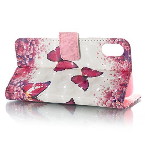 Apple iPhone X Hülle, SATURCASE Schönes 3D Muster PU Lederhülle Ledertasche Magnetverschluss Flip Cover Brieftasche Case Handy Tasche Schutzhülle Handyhülle Hülle mit Standfunktion Kartenfächer und Ha Muster-6