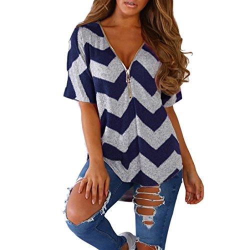 Huihong Damen T Shirt Reißverschluss V Ausschnitt Geometrie Druck Kurzarm Casual Weste Tops Bluse (Blau, L)