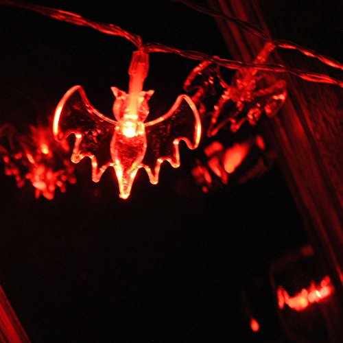 (batteriebetrieben Halloween Fledermaus Lichterkette mit 20 Red LED ON/Funkeln Holloween Party Fenster Tür Decor Weihnachten)