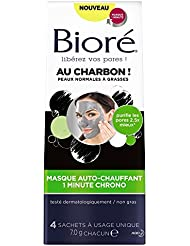 BIORÉ Masque Auto-Chauffant 1 Minute Chrono au Charbon - Lot de 2