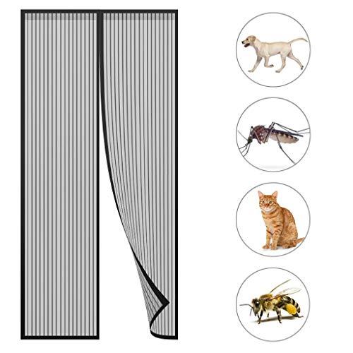 GOUDU Magnet Fliegengitter TüR Fliegengitter Fenster Insektenschutz Easy Install für Balkontür Terrassentür Wohnzimmer - Black A 140x210cm(55x83inch)