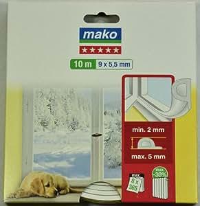 Mako P-Hohlprofil-Gummidichtung # Farbe: weiß # Länge/Größe: 10 m (9 x 5,5 mm)