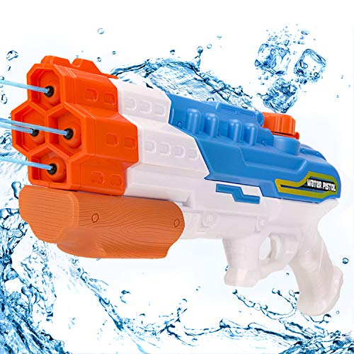 Rolytoy VraiJouet Pistolet à Eau à 4 Buses Pistolet A Eau Adulte Longue portée1200ml 1200CC 30ft pour Enfants et...