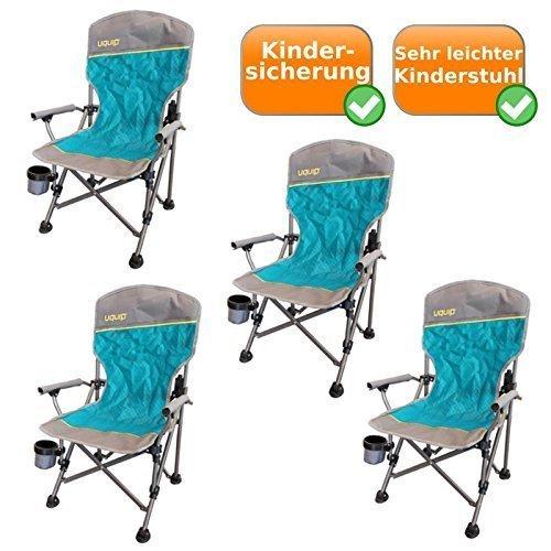 4 Set pliable - chaises de camping comprenant Porte-boissons, Sécurité enfants, 60Kg capacité, sûr Loop Stand, aussi sur doux Fond, par 2Kg Poids net, bleu-argent