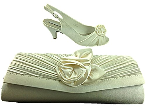 Donna Occasions Enya Raso Rosetta Fiore Tacchi Stiletto Piccolo Da Sera Occasione Speciale Cerimonia Scarpa Sandalo Size 3-8 Ivory