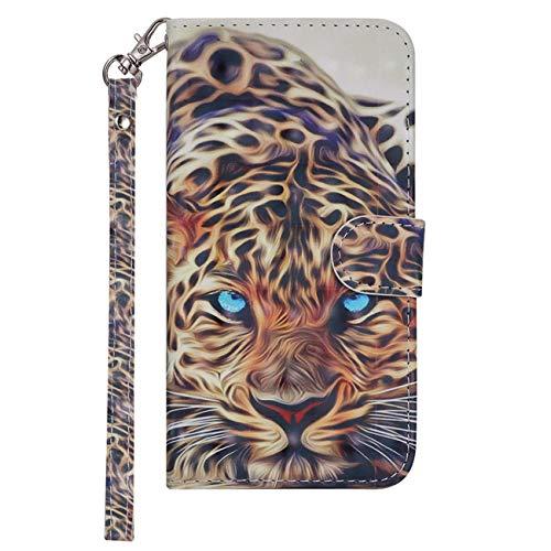 Chreey Hülle für Samsung Galaxy S5 / S5 Neo, Reflektierend Flip PU Leder Handy Schutzhülle mit Brieftasche Kartenfach Standfunktion, Blauäugiger Leopard (Phone Case-mädchen Samsung S5 Wallet)