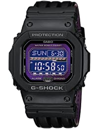 CASIO G-SHOCK Men's Quartz Watch with Purple Dial Digital Display and Black Leather Strap GLS-5600L-1ER