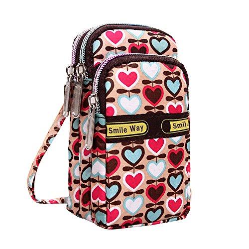 TEBAISE Phone Tasche Armtasche Modische Sonnenblume Muster Zipper Sport-Armband für Smartphone Armbänder Schultertasche Umhängetasche als handytasche Geldbörse für Damen Mädchen - Muster Flache Geldbörse