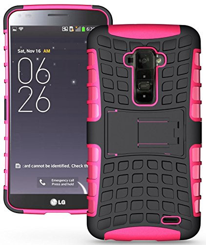 Heartly Flip Kick Stand Hard Dual Armor Hybrid Bumper Back Case Cover For LG G Flex D958 - Pink  available at amazon for Rs.399
