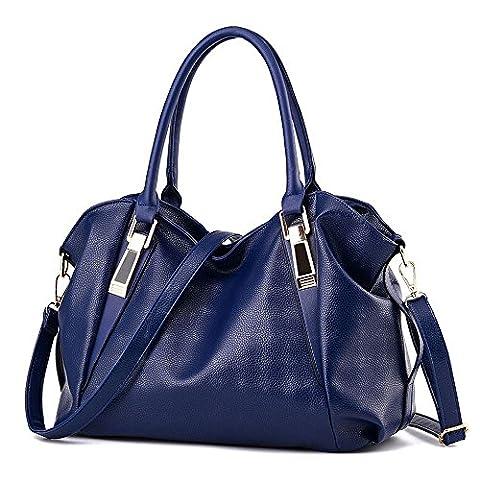 Koson-Man Womens PU Leather Shoulder Vintage Beauty Tote Bags Top Handle Handbag(Navy)