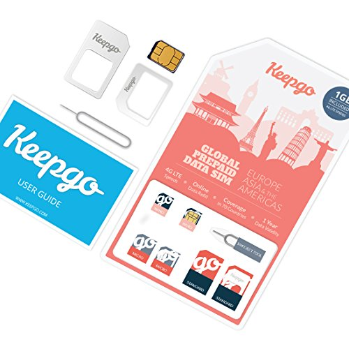 Keepgo Global Lifetime 4G LTE Data SIM Card for Europe, Asia & The Americas + 1GB Credit - Mobile 1 Htc Virgin