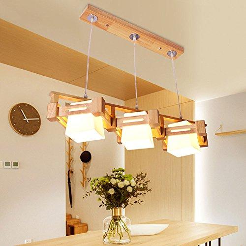 Massivholz Kronleuchter, moderne skandinavische Glas Lampenschirm Holz Farbe personalisierte Esszimmer Tisch Wohnzimmer Bar Kronleuchter E27 Lampe Größe: 82 / 22x22x16cm (Farbe : 3heads)