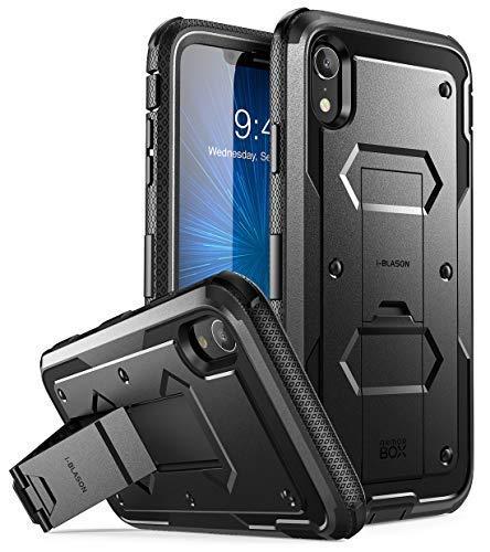 i-Blason iPhone XR Hülle Outdoor Handyhülle 360 Grad Case Schutzhülle Cover [Armorbox] mit Ständer und Integriertem Displayschutz für iPhone XR 6.1 Zoll, Schwarz