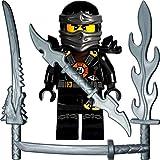 LEGO Ninjago Minifigur Deepstone Cole (schwarzer Ninja) mit 4 GALAXYARMS Schwertern