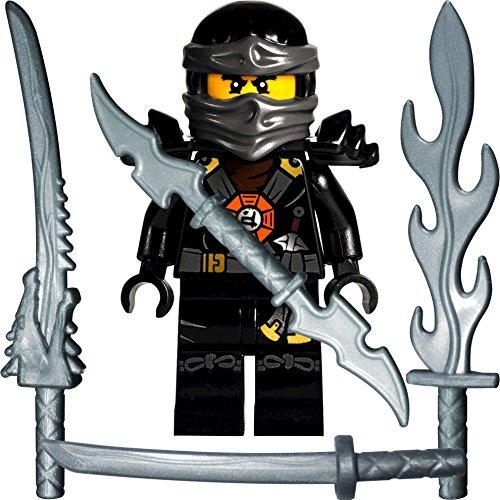 Ninjago Lego Minifigur Deepstone Cole (schwarzer Ninja) mit 4 GALAXYARMS Schwertern