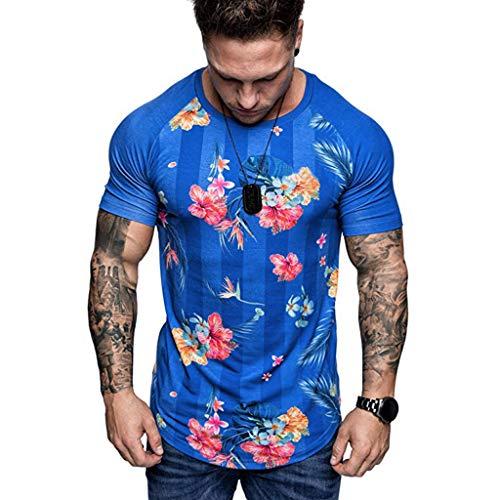 Tyoby Sommer Herren T-Shirt Drucken Mode Blumig Slim Fit Kurzärmliges Oberteil Fitness Tops Herrenbekleidung(Blau,XXL)