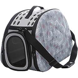 Transportin Perro/Transportin Gato, Respirable Plegable Bolsa de Viaje para Mascotas (M Espuma, Gris)