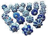 25pomelli in ceramica, blu e bianchi, per manopole cassetti, porte, armadi, fantasia mista indiana