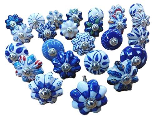 Pomos de cerámica para cajones y armarios, varios diseños de estilo indio, 25 unidades