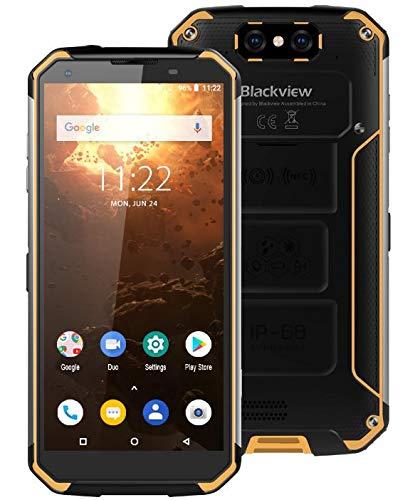 Blackview BV9500 Plus (2019) Outdoor Smartphone ohne Vertrag - Helio P70 Octa Core, 10000 mAh Akku, 4 GB + 64 GB, 5,7 Zoll FHD +, Android 9.0 IP68 Robustes Handy, Kabellose Aufladung GPS - Gelb