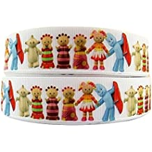 "1 METRE IN THE NIGHT GARDEN WHITE CHARACTER CARTOON RIBBON 1"" 25MM"