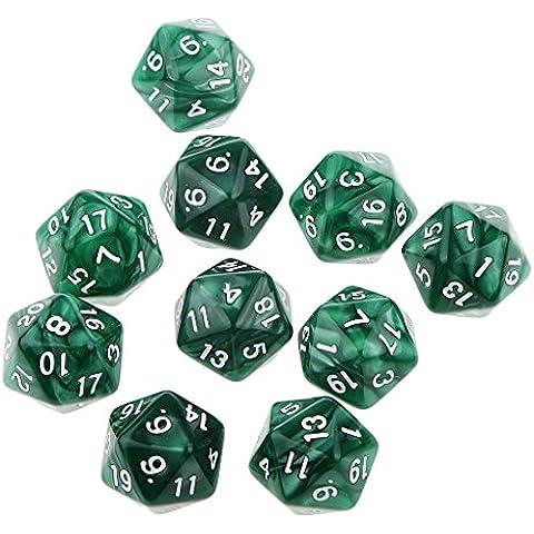 10pcs Juegos de Mesa Dados de Veinte Caras D & D TRPG Padrón de Perla - Verde