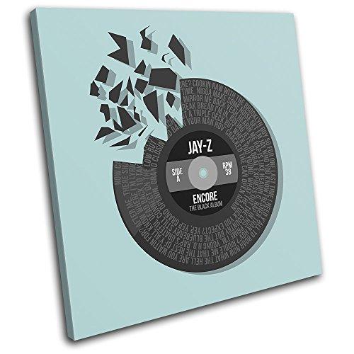 Bold Bloc Design - Jay-Z Encore Record Vinyl Lyrics Song Musical 60x60cm SINGLE Tela Art Print Box incorniciato appeso a parete foto - mano Made In UK - incorniciato e pronto da appendere - Canvas Art Print