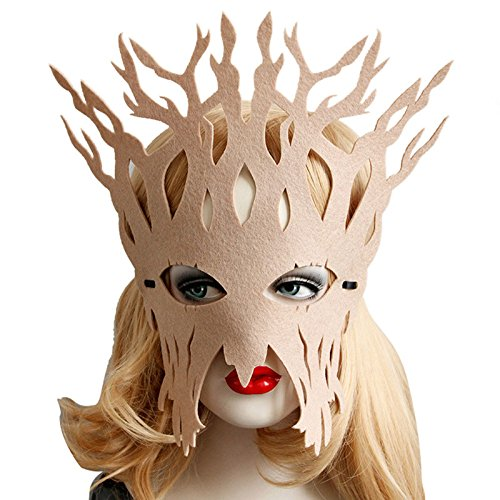 OverDose Damen Maskerade Maske Maskenball Maske Kostüme Karneval Venezianischen Partei Maske DIY Handgemacht Valentinstag Party Batman-Maske für Erwachsene (Beige)