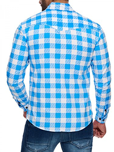 Herren Hemd · (Slim Fit) Langarm Hemd, kariert, Stehkragen und Knopf-Brusttaschen Freizeit, Casual · H1715 in Markenqualität Hellblau