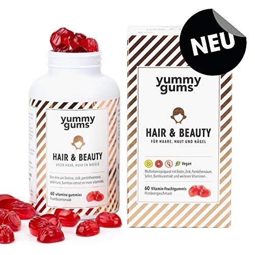 *NEU* Yummygums Haar Vitamine – Hochdosierte Biotin Gummibärchen für gesunde Haare, Haut & Nägel – Hair & Beauty Haarvitamine bei Haarausfall und zum Haarwachstum beschleunigen (60 Stück)