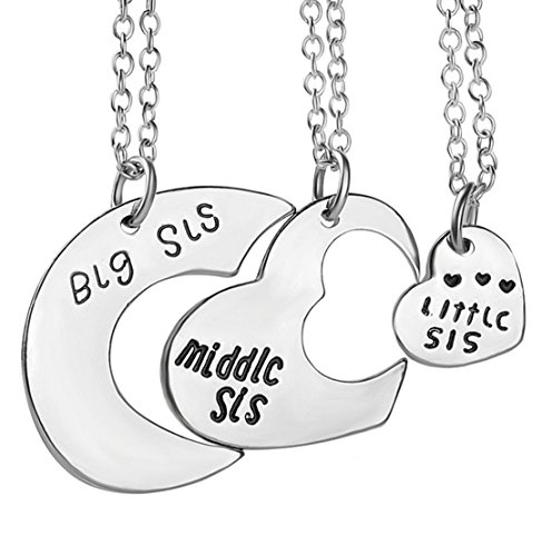 Fengteng Sisters Friendship Pendant Little Middle Big Sister Love Heart Mosaic Broken Heart Puzzle Necklace 3 Pieces