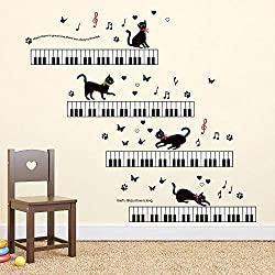 ufengke Pegatinas De Pared Música Vinilos Adhesivos Pared Piano Gato para Dormitorio Salón Oficina Habitación