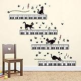 ufengke Stickers Muraux Musique Autocollants Mural Piano Chat pour Chambre Salon Bureau Décoration Murale